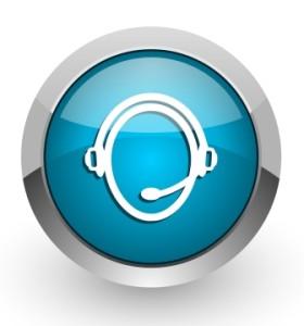customer service blue glossy web icon
